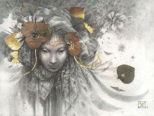 A mask. Gold leaf painting by French artist Yoann Lossel