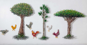 Painting made out of colored pencils. Work by Colombian artist Federico Uribe