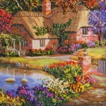 Idyllic landscape. Stumpwork embroidery with 3-dimensional effect