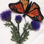 Butterfly and thistle. Stumpwork embroidery with 3-dimensional effect