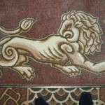 White lion, carpet. Detail