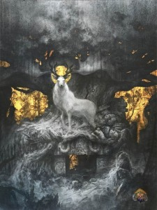 'The Forgotten Gods' – Graphite, Gold leaf and hydrangea petals. painting by French artist Yoann Lossel