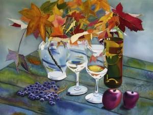Still life Silk painting by Natasha Foucault