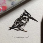 "A bird. Art project ""365 Postcards for Ants"". Miniature watercolor painting by Cape Town based artist Lorraine Loots"