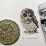 "Art project ""365 Postcards for Ants"". Miniature watercolor painting by Cape Town based artist Lorraine Loots"