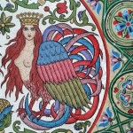 Russian Art Nouveau, aged with the effect of craquelure (cracks)