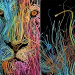 Web world. Illustration made of wires. Artist Charis Tsevis, Greece