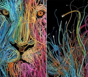Web world. Illustration made of wires. Artist Charis Tsevis, Greece