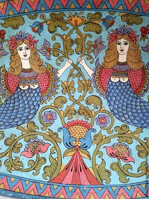 Traditional Russian Wood Painting By Albina Ustyugova