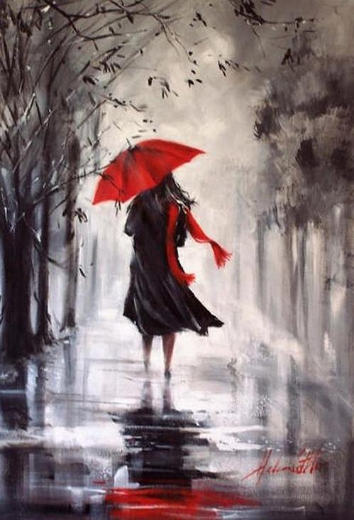 Painting rain Helen Cottle Australian self taught artist