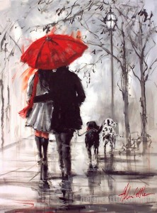 A couple with two dogs walking in the rain. Painting by Helen Cottle