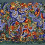 Traditional folk art Petrikovsky painting. Works by Olena Skytsiuk