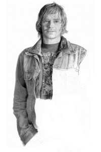 A man in a denim jacket. Hyperrealistic graphite on paper drawing by Canadian artist Brian Boulton