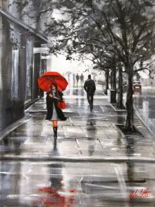 Red umbrella. Painting by Australian artist Helen Cottle