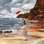 Flying up red umbrella. Painting by Australian artist Helen Cottle