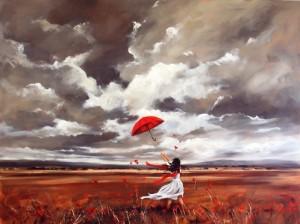 Wind before the rain. Painting by Australian artist Helen Cottle