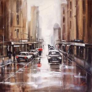 City landscape in the rain. Painting by Australian artist Helen Cottle