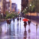 People and umbrellas. Busy street in the rain. Painting by Australian artist Helen Cottle