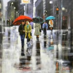 A beautiful rainy city street. Painting by Helen Cottle