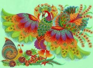 Traditional folk art Petrikovsky painting. Works by Olena Skytsiuk