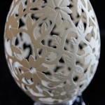 Floral design goose eggshell carving by craftsman from Poland Piotr Bockenheim