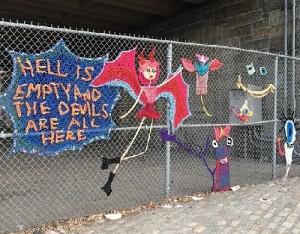 Crochet street art installation created by British artist London Kaye