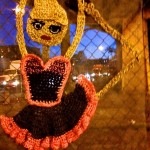 Crochet street art installation