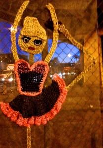 Crochet street art installation