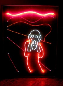 I Scream You Scream, was created by artist Cathy Cole in the early 1980s, in reaction to the city of Glendale, CA, enacting a law that prohibited the use of neon lighting