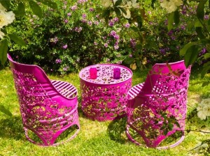 Garden furniture, pink table and chairs