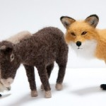 Miniature felted animals by Kiyoshi Mino