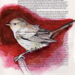 Birds on found paper by Paula Swisher