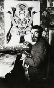 Working in his studio Augustin Lesage