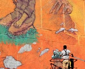Beautiful mural created by famous Russian street artist Rustam Salemgarayev, aka Qbic