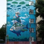 Beautiful mural created by famous Russian street artist Rustam Salemgarayev, aka Qbic