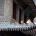 Detail of design. Traditional Chinese house decorated with seashells. Creation by a self-taught architect Xiao Yongsheng