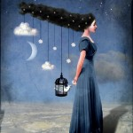 The Moon and stars. Beautiful collage illustration by German graphic designer Catrin Welz-Stein