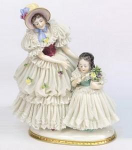 Louis XIV style lace porcelain figurines