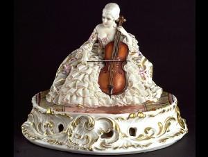 Viola player, lace porcelain figurines