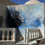 Beautiful kitten. A mural in Erriadh village, Tunisia. Street artist C215, France