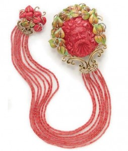 Enamel, coral, diamonds and gold