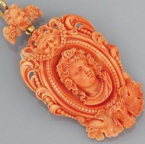 Jewelry art - coral pendant