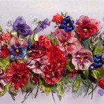 Ribbon painting by Kiev born artist of applied art Tetiana Korobeinyk (Embroidery on Julia Vorontsova's prints)