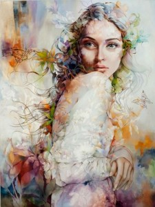 Stunningly beautiful portraits decorated with floral patterns. Work by Chinese painter Wendy Ng
