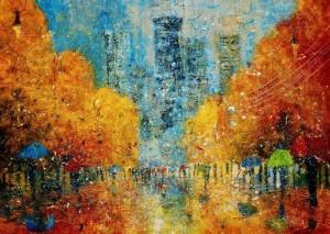 Evening rain. Landscape painting by Justyna Kopania