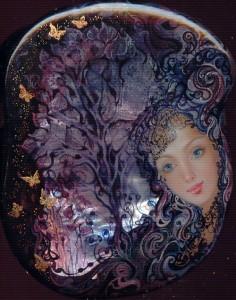 Traditional Fedoskino miniature painting by Yulia Danilina