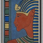 'Pharaoh', gouache and pastel pencils, inspired by the Egyptian frescoes. Painting by Moscow based Elina Forget-me-not