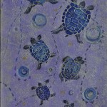 Space turtles. Painting by Moscow based Elina Forget-me-not