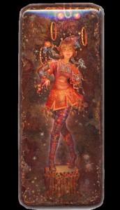 Lacquer miniature painting 'Fedoskino' by Russian artist Yulia Danilina