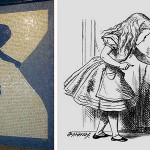 "She saw curtains that has not noticed before …. ""Alice – The Way Out"". Mosaic mural by Liliana Porter, NYC Subway, 1994"